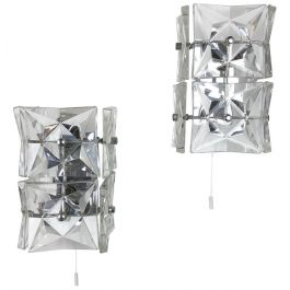 Set of 2 Huge Prismatic Crystal Glass Wall Light Sconces by Kinkeldey, Germany