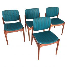 1960s Erik Buch Set of Four Teak Captain Dining Chairs, Included Reupholstery