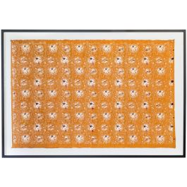 A FRAMED MEIJI HAND PRINTED WASHI PAPER WALLPAPER PANEL