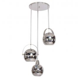 Mid-Century Modern Chrome-Plated Pendant Light Chandelier