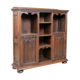Antique Bookcase Cabinet, Oak, Gothic Overtones, Robertson and Coleman, c.1880