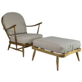 VINTAGE ERCOL WINDSOR ARMCHAIR AND FOOTSTOOL