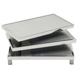 French Maison Mercier Three-Tier Chrome Steel Swivel Coffee Table, 1970s