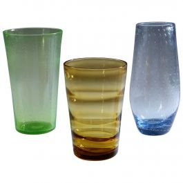 Group of Three Coloured Whitefriars Glass Vases, Green, Blue and Gold
