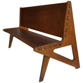 1950s Large Sculptural Wooden Bench