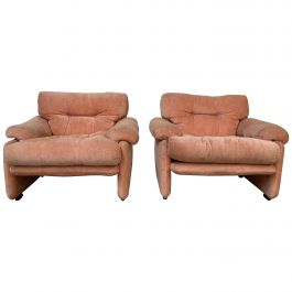 Mid-Century Modern Italian Pair of Coronado Armchairs by T Scarpa for B&B Italia