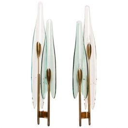 Pair of Fontana Arte Dahlia Wall Sconces by Max Ingrand