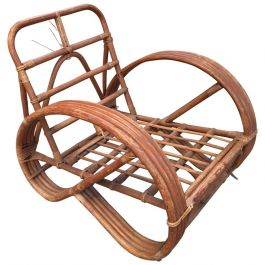 French 3/4 Round Pretzel Arm Lounge Chair In Bamboo And Rattan From 1950s