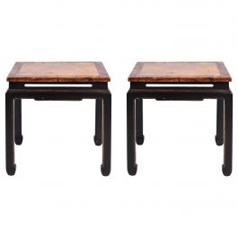 Pair of Chinese Export Black and Red Lacquer Side Tables