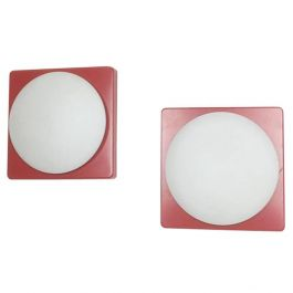 Set of 2 Cubic Wall Lights by Rolf Krüger for Heinz Neuhaus Leuchten, 1971