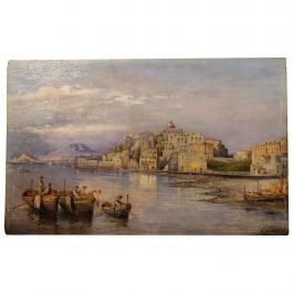 Carelli 19th Century Italian Rectangular Oil on Board Landscape Marine Painting
