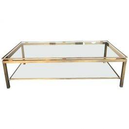 Gilt Metal Coffee Table by Guy Lefevre