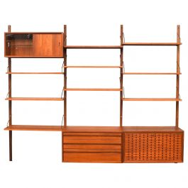 Exclusive Brass and Teak Royal Series Wall Unit by Poul Cadovius, Denmark, 1950