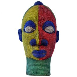 1960s Large Female Beaded Head Sculpture in Primary Colors