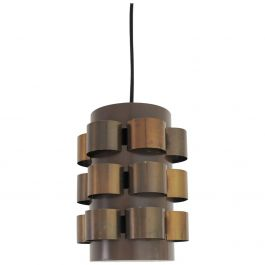 Danish Lamp with Patinated Brass Elements, Design by Werner Schou for Coronell