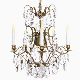 Baroque Brass Chandelier with Clear Crystals and Six Arms