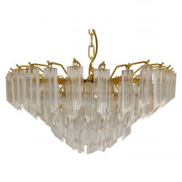 Vintage Brass and Crystal Chandelier by Novaresi, 1980s