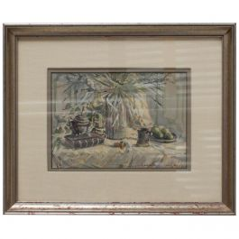 Midcentury California Framed Art Work Water Color, Signed