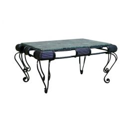 Vintage Marble Coffee Table, Italian, Iron Frame, Low, Late 20th Century