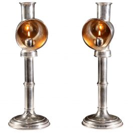 Pair of 19th Century Silver Plated Student Lamps