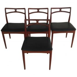 Set of Four Danish Johannes Andersen Dining Chairs in Teak, Inc. Reupholstery