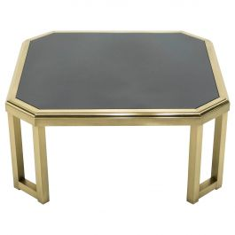 Midcentury Brass Black Opaline End Table by Maison Jansen, 1970s
