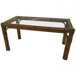 Mid-Century Modern Italian Bamboo Dining Table with Glass Top