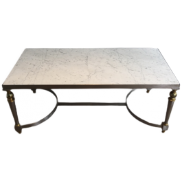 Brushed Steel Brass & White Marble Coffee Table