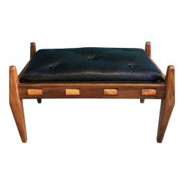 1960s Brazilian Stool With Black Leather