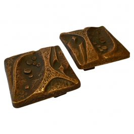 Bronze Square Door Handles Pair for Double Doors with Nature Relief Design