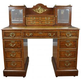 19th Century Victorian Amboyna Inlaid Pedestal Desk