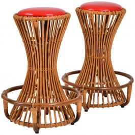 Pair of Bonacina Rattan Bar Stools, circa 1950