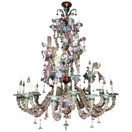 19th-20th Century 30-Light Polychrome Murano Chandelier