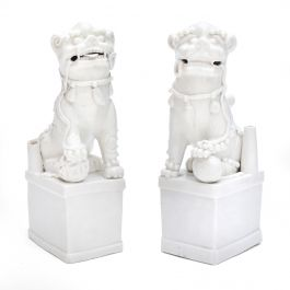 Pair of Blanc de Chine Buddhist Lions, Foo Dogs Early Kangxi, 1662-1722