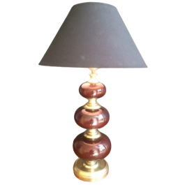 Red Glass And Brass Table Lamp. Circa 1960