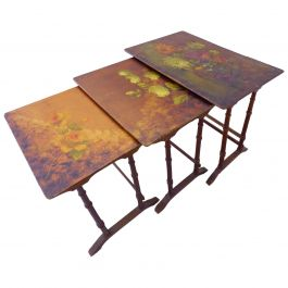 Nesting Tables French Original Painted One of a Kind Floral Tops 19th Century