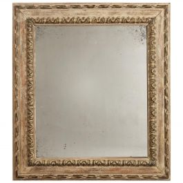 Midcentury French White Gesso Mirror Frame, with Later Mercury Plate