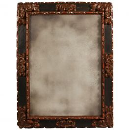 Late 17th Century Large Carved Baroque Mirror Frame with Mercury Plate