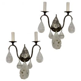 Pair of French Rock Crystal Wall Sconces