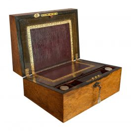 Antique Writing Slope, English, Rosewood, Leather, Pen Box Victorian, circa 1880
