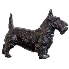 A Small Cold-Painted Bronze Scottie Dog