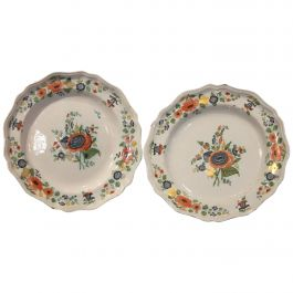 Pair of 18th Century Hand Painted Multi-Color Porcelain Decorative Dinner Plates