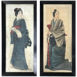 Pair of Early 20th Century Japanese Portraits Painted on Silk