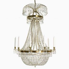 Empire Ten Arm Polished Brass Chandelier with Fifteen Lights