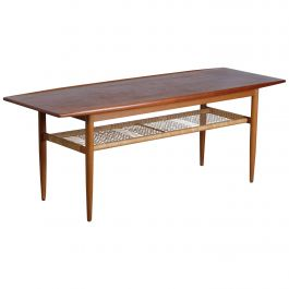 Danish Teak & Woven Cane Coffee Table, 1960s
