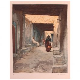 Engraving of Morocco Street Scene signed Ch Manuel, circa 1920