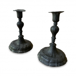 Pair of German Pewter Baroque Candlesticks c.1750