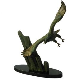Eagle in Flight signed Rulas Art Deco Sculpture Statue on Marble Base Animaliac1930