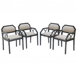 Rare Set of Four Hollywood Regency Black Lacquer Chairs J.C. Mahey, 1970s