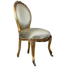 Vintage 20th Century Salon Chair in Antique French Taste, Giltwood, circa 1970